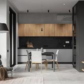 Кухня-гостиная в ЖК Резиденции архитекторов