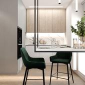 Кухня  с зелеными стульями