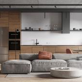 LOFT   Living room + kitchen visualization