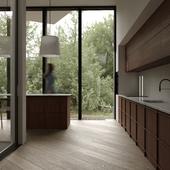 Wood modern kitchen design | visualisation