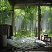 Хижина в бамбукоом лесу
