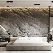 Bedroom with a rock