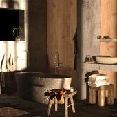 Ванная комната в стиле Wabi Sabi. Вариации со светом.(сделано по референсу)