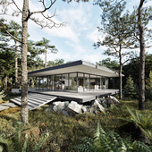 Architect House in a Pine Forest (сделано по уроку)