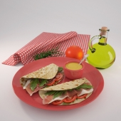 Tortilla with bacon, mustard and olive oil Set