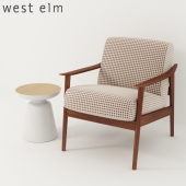 West Elm. Mid-Century Show Wood Upholstered Chair + Martini Two Tone Side Table