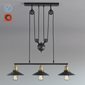 Vintage Loft Industrial LED American Country pulley pendant light