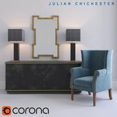 Julian Chichester: Elgin Low Cabinet, Kelso Chair, Hennessey Mirror; MERCAN: Berkley I