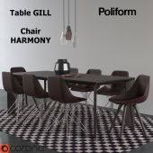 DRSet_Table GILL and Chair HARMONY