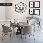 Ravenna Console, Affinity Sling Back Chair, Corsica Dark Round Dining Table