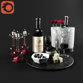 Wine set & roses