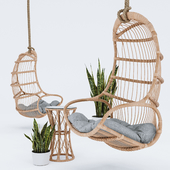 Blucher, hanging chair, plant & table
