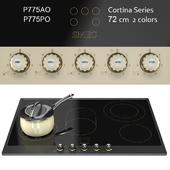 Smeg Cortina P775 72cm Ceramic Hob – cream/ anthracite / brass