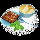 Kitchen decorative set with coffee and dessert