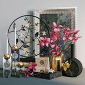 Decorative set with magnolia flower