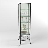 КЛИНГСБУ Шкаф-витрина, черный, прозрачное стекло, 45x180 см
