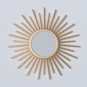 Зеркало круглое, золотистое.