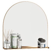 Brass Arched Mirror with Shelf Cb2