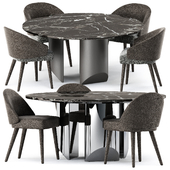 Lawson Dining Chair and Wedge Table by Minotti