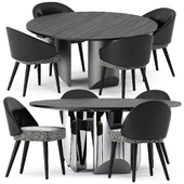Lawson Dining Chair and Wedge Round Table by Minotti