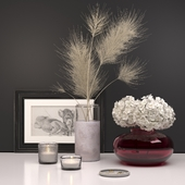 Decorative set with dry plants and hydrangea