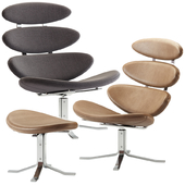 Erik Jorgensen / Corona Easy Chair with Footstool