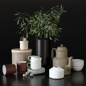 Decorative set with dishes for the kitchen