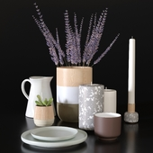 Decorative set with plates and plants