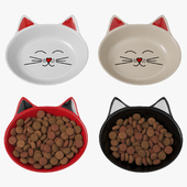 Кошачьи блюдца с кормом