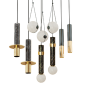 Set of suspended lamps in modern style