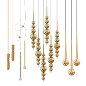 Collection of suspended chandeliers in gold colour