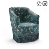 Кресло из велюра в винтажном стиле, Ramona