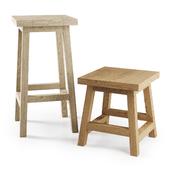 Деревянный барный стул с табуреткой / Wooden Bar stool