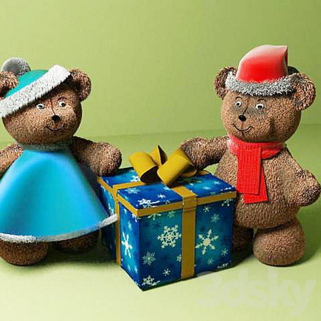 Bears under the Christmas tree
