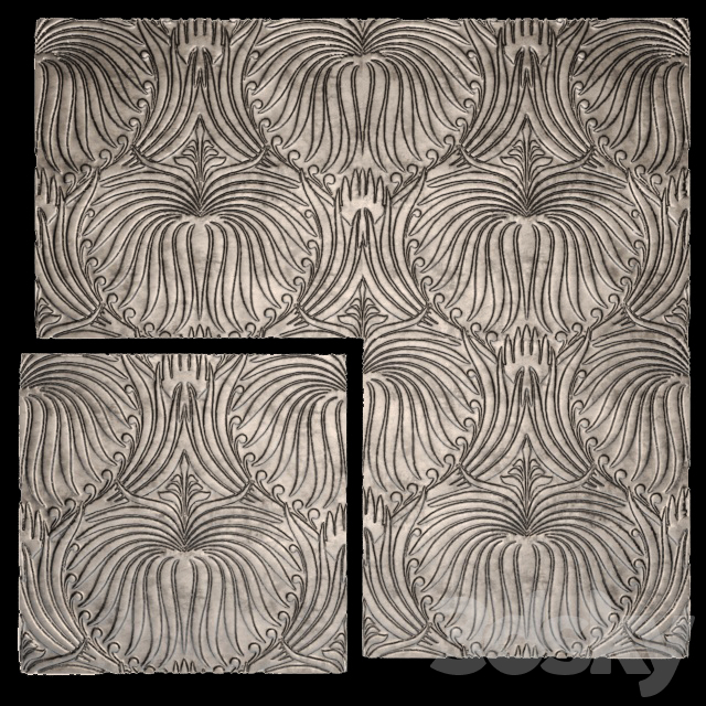 3D panel, futurism, leaves.