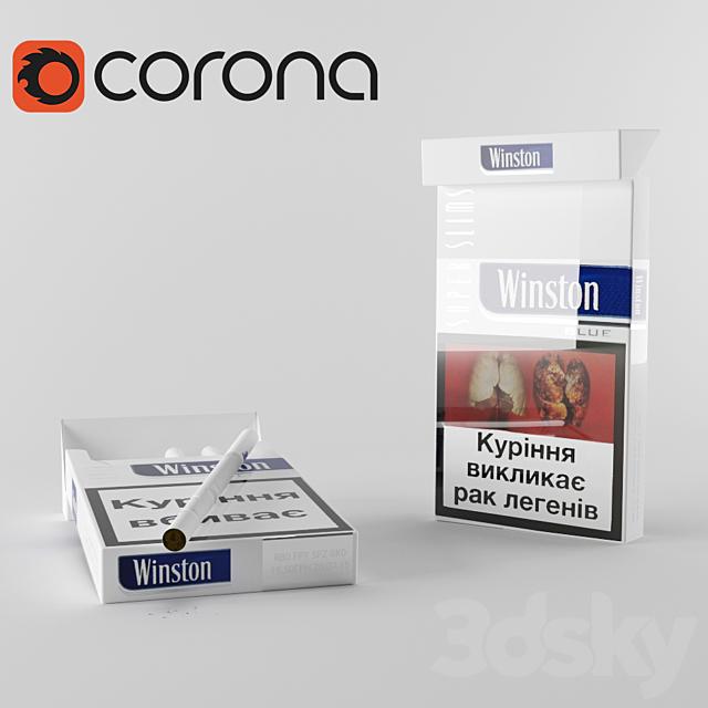 A pack of cigarettes Winston Blue Slim