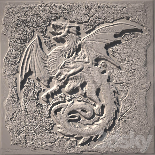 "3d models: Decorative plaster - Bas ""Dragon"""