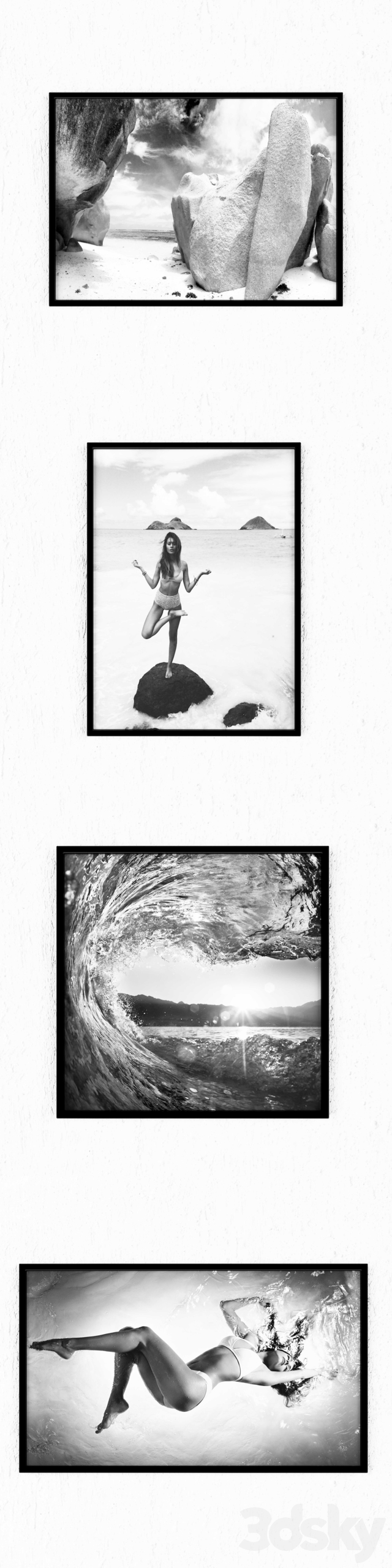 A series of black and white paintings