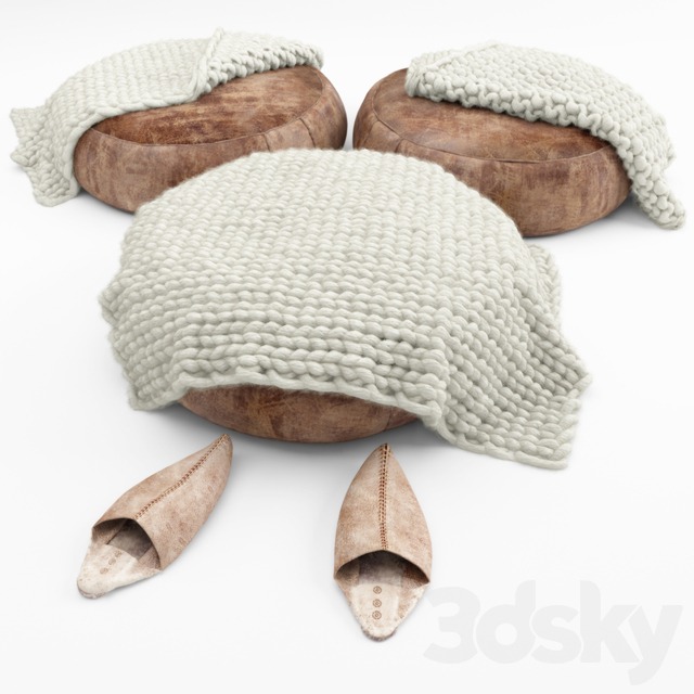 Poof, slippers, rugs-rugs, wraps