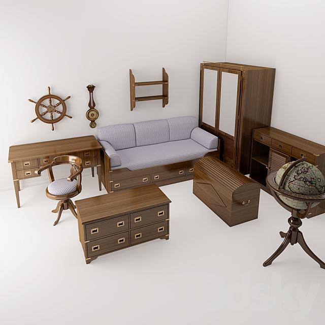 3d Models Full Furniture Set A, Marine Style Furniture