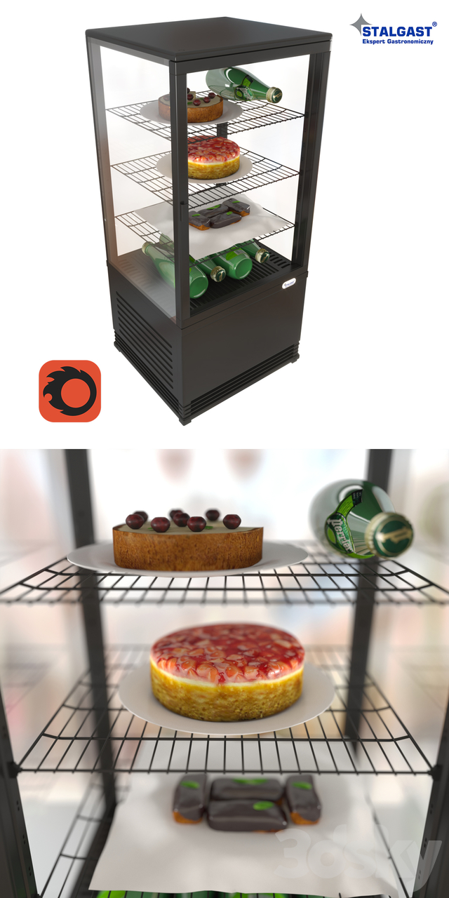 Table refrigerated showcase Stalgast 852171 with products