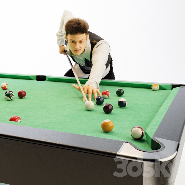 American billiard table, billiard player