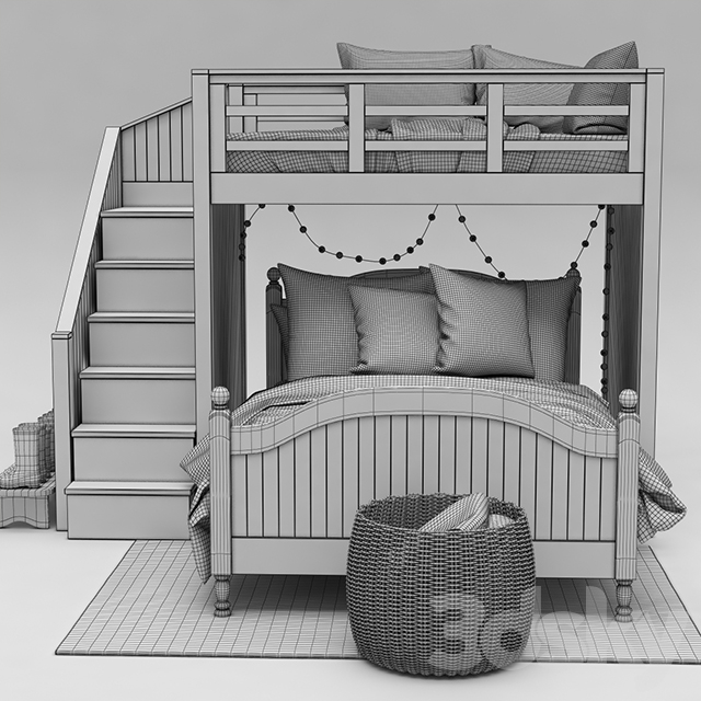 3d Models Bed Catalina Stair Loft Bed Amp Lower Bed Set