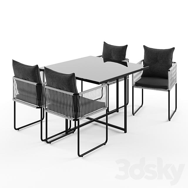 3d models: Table + Chair - SWANN Table de jardin + 4 chaises ...