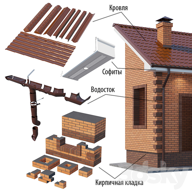 A set of elements for building a brick house