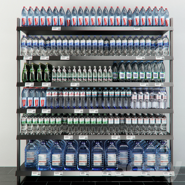 Rack with mineral water