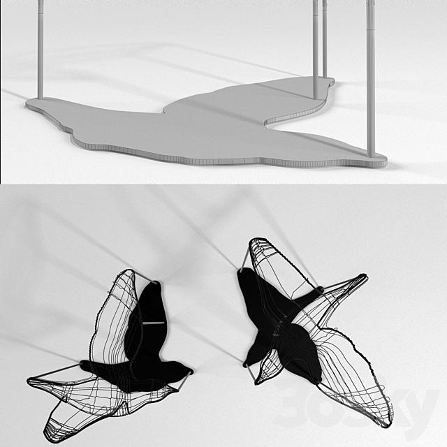 Flight Shadows decor sculpture by Artem Zakharchenko / two black birds