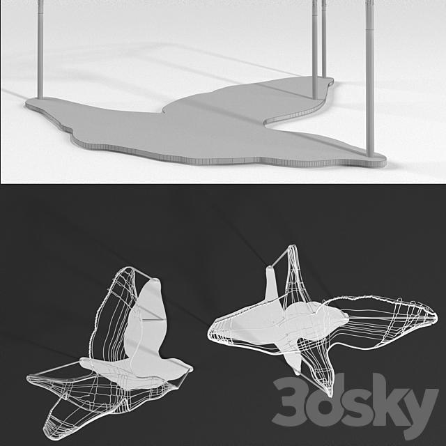 Flight Shadows decor sculpture by Artem Zakharchenko / two white birds