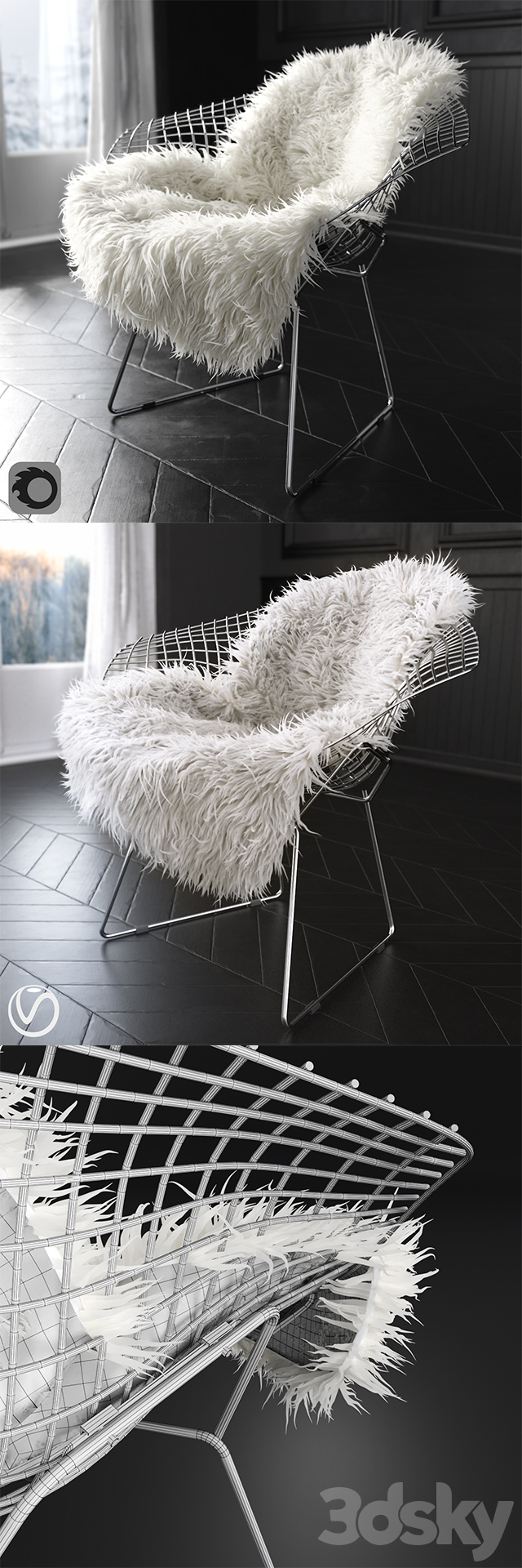 Sheepskin on Bertoia Diamond chair by Knoll