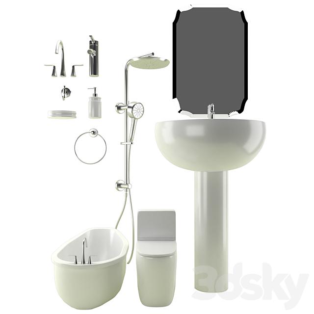 3d Models Bathtub Bathroom Set 01
